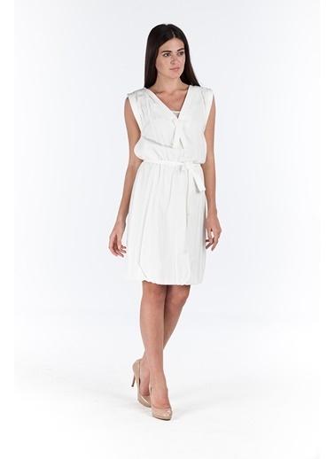 Belden Bağlamalı V Yaka Kolsuz Elbise-Bovona
